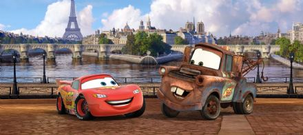 Cars in Paris Panoramic mural wallpaper 202x90cm